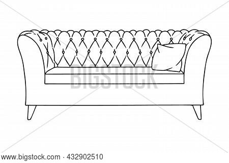 Contour Sketch Of A Sofa Isolated On A White Background. Vector Illustration