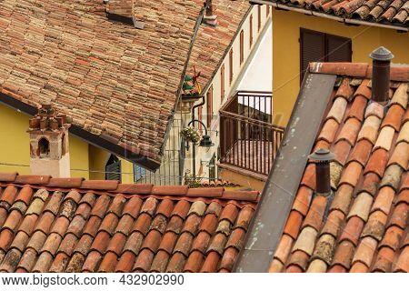 Old Terracotta Shingles On The Old Houses Roofs In Serralunga D'alba, Piemonte, Langhe Wine District