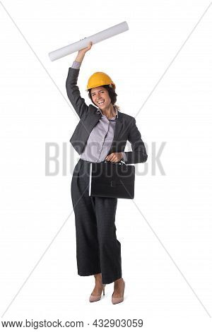 Portrait Of Female Engeneer Architect In Yellow Hardhat And Business Suit With Raised Arms Isolated