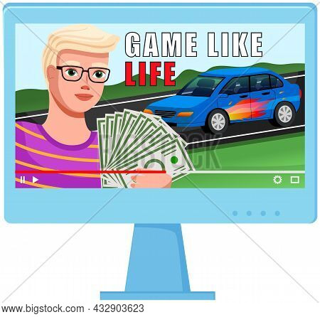Rich Man Makes Video And Talks About Success. Successful Businessman With Money Near Car. Rich Life,