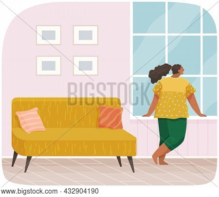 Girl Standing Next To Windowsill And Looking At Moon Outside Window. Female Character Spends Time At