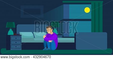 Man Worried With Insomnia Or Nightmare Sits In Bedroom. Person Scared Because Of Panic Attack At Nig