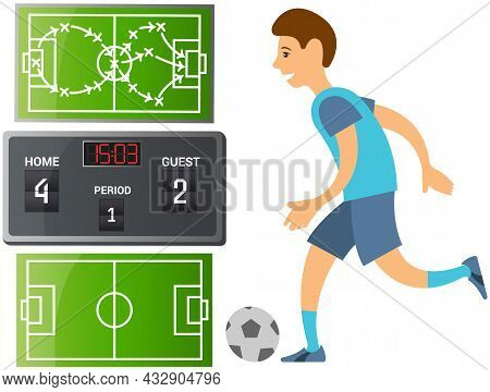 Running Soccer Player. Football Cartoon Player In Blue Jersey Running With Ball On Playing Field Iso