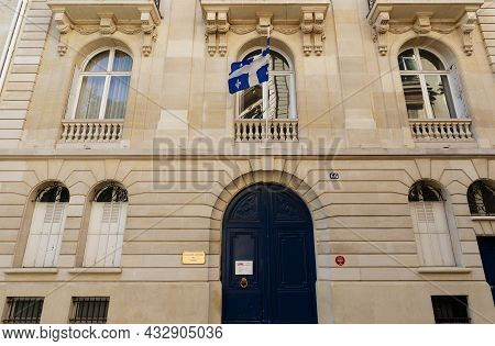 Paris, France-september 02, 2021 : The Facade Of Quebec Government Office. It Located In 16th Distri