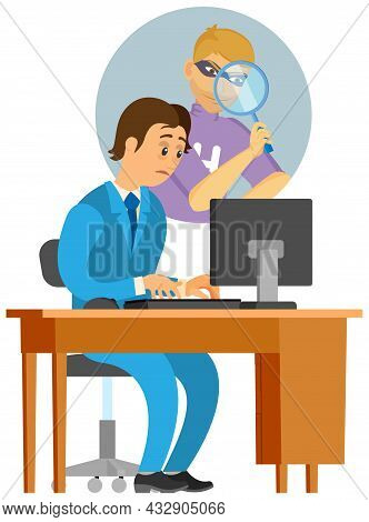 Hacker Spying On Office Worker At Table With Laptop. Businessman Or Clerk Working At His Office Work