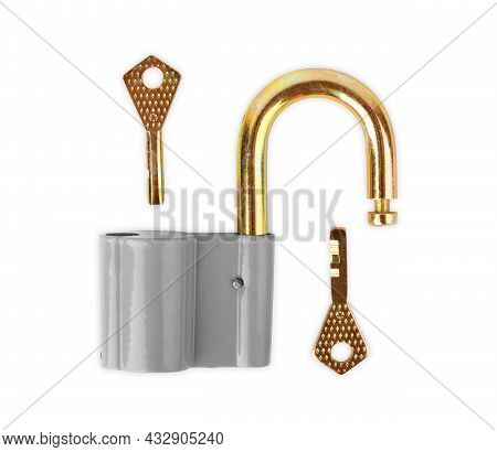 Key In The Metal Lock. Isolated Equipment, Metal, Padlock, Accessibility, Closeup, Iron,