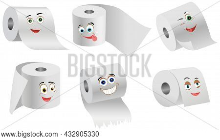 Cartoon Smiling Funny Toilet Paper Set Flat Vector. Special Paper For Wiping. Paper Product Is Used