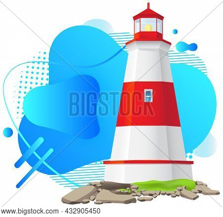 Big Red And White Lighthouse Standing On Stones Isolated On White Background. Large Construction Of