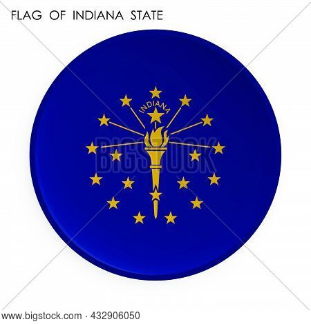 American State Of Indiana Flag Icon In Modern Neomorphism Style. Button For Mobile Application Or We