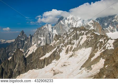 Landscape Of High Alps In The Mont Blanc Massif During Summer Day Of July, France