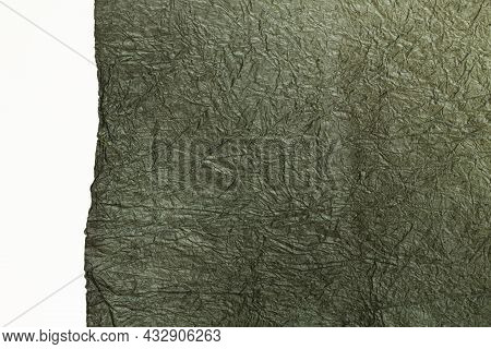 Japanese Abstract Paper Texture.black Paper On White Background. Close Up.