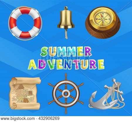 Sea Story, Summer Adventures And Travel Poster. Marine Cruise And Travelling Advertising Placard Wit