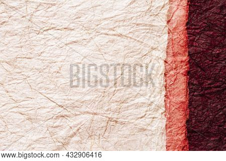 Japanese Abstract Paper Texture.3 Colors Of Beige And Pink And Red Brown. Close Up.