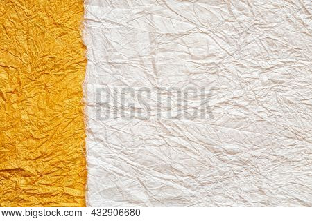 Japanese Abstract Paper Texture.2 Colors Of White And Orange. Close Up.