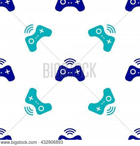 Blue Wireless Gamepad Icon Isolated Seamless Pattern On White Background. Game Controller. Vector