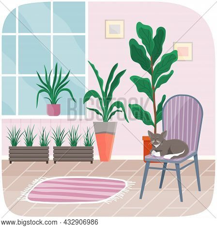 Interior Of Comfortable Room, Cat Sitting On Chair With Striped Carpet And Window. Living Room Inter