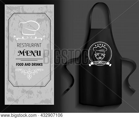 Black Apron Next To Piece Of Paper With Menu. Clothes For Work In Kitchen, Protective Element Of Clo