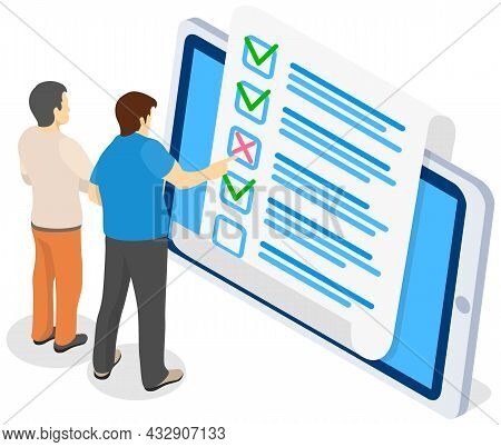 Men Are Checking Correctness Of Questionnaire. Online Form Survey On Tablet Screen. Male Characters
