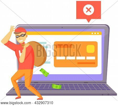 Ddos Attack On Website. Man Hacker Stand Near Big Web Page Being Under Attack. Masked Cybercriminal