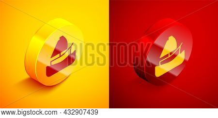 Isometric Yacht Sailboat Or Sailing Ship Icon Isolated On Orange And Red Background. Sail Boat Marin