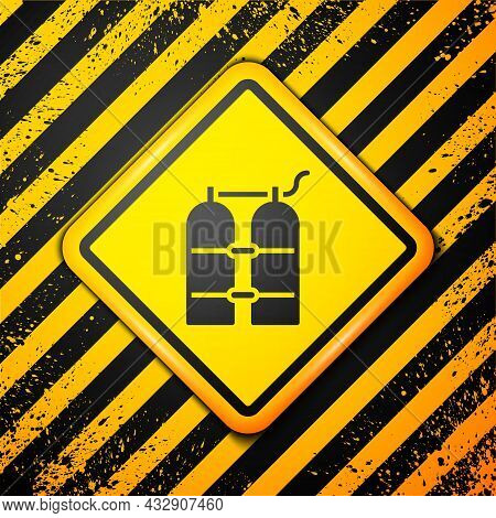 Black Aqualung Icon Isolated On Yellow Background. Oxygen Tank For Diver. Diving Equipment. Extreme