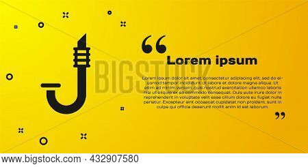 Black Snorkel Icon Isolated On Yellow Background. Diving Underwater Equipment. Vector