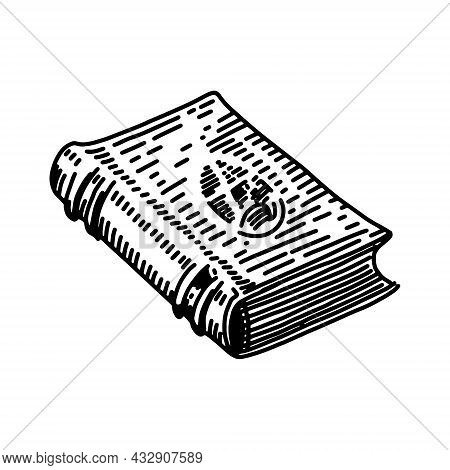 A Sketch Of An Old Book With Spells. Vector Image On A White Background, Isolated. Beautiful Magic B