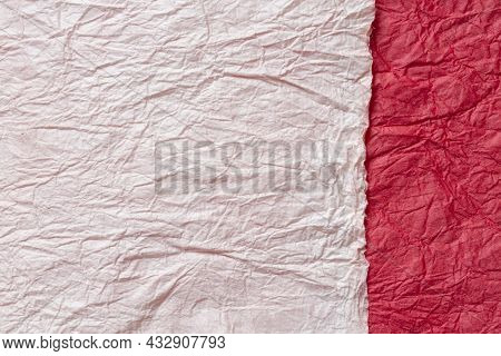 Japanese Abstract Paper Texture.2 Colors Of Beige And Red. Close Up.