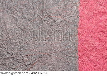 Japanese Abstract Paper Texture.2 Colors Of Gray Pink And Pink. Close Up.