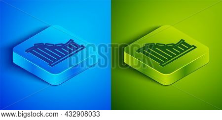 Isometric Line Roller Coaster Icon Isolated On Blue And Green Background. Amusement Park. Childrens