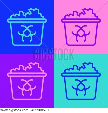 Pop Art Line Infectious Waste Icon Isolated On Color Background. Tank For Collecting Radioactive Was