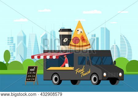 Fast Food Black Truck With Baker Outdoor In City Park. Pizza Slice And Coffee Paper Cup On Van Roof.