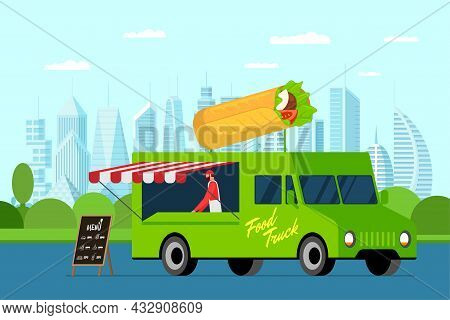 Fast Food Green Truck With Cook Outdoor In City Park. Shawarma On Van Roof. Doner Kebab Delivery Van