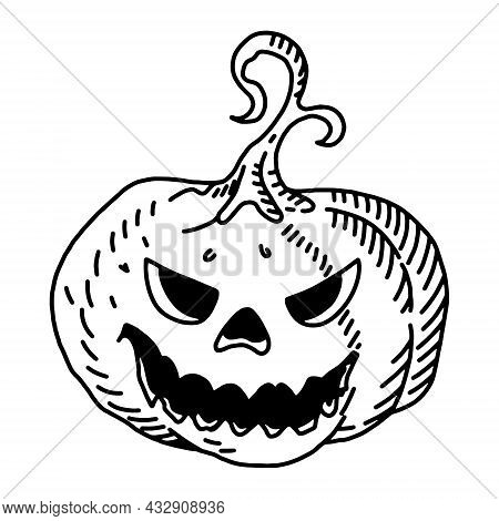 Halloween Pumpkin With Evil Scary Smile In Funny Hand Drawing Doodle Sketch Style.