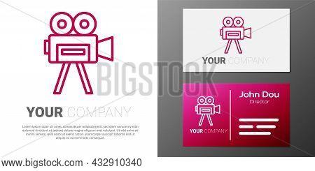 Logotype Line Retro Cinema Camera Icon Isolated On White Background. Video Camera. Movie Sign. Film