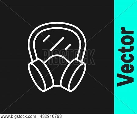 White Line Gas Mask Icon Isolated On Black Background. Respirator Sign. Vector