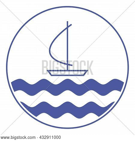 Blue And White Round Emblem. Sea Voyage Under Sail. Small Boat Sailing On Blue Waves. Sailboat Conto