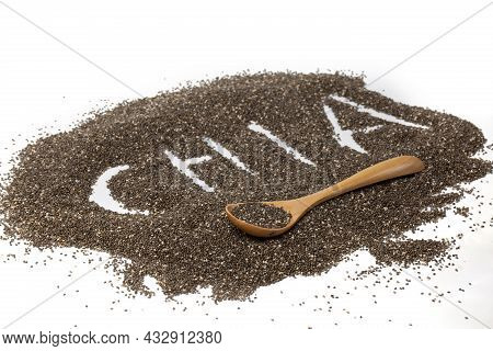 ?hia Word Made From Chia Seeds On White Background.