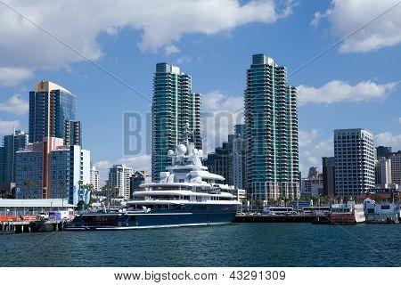 SAN DIEGO, CALIFORNIA - FEB 11 : Roman Abramovich's yacht Luna rests at dock.