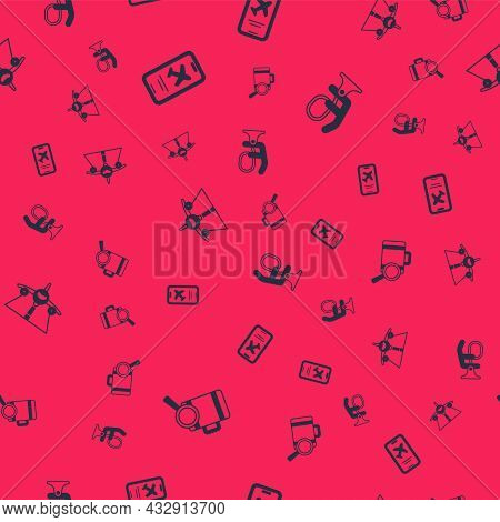 Set Lost Baggage, Mobile With Ticket, Plane And Airplane Seat On Seamless Pattern. Vector