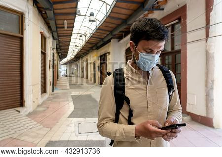 Main Market During Coronavirus Pandemic, No Tourists, Lockdown In Cyprus In City Paphos. Alone Touri