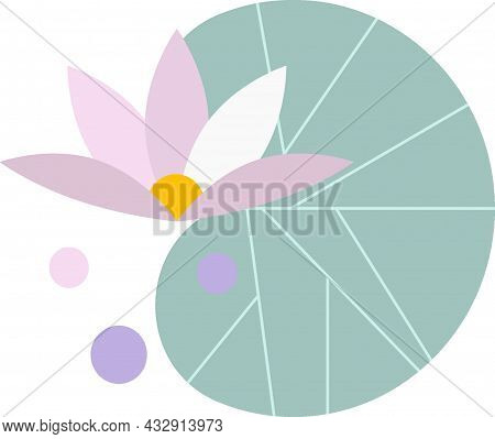 Purple Lotus And Green Lotus Leaf, On The Water Surface, Green Leaf, On A White Background, Comic Lo