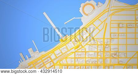 Empty Seaport In Abstract Low Poly City Top View. 3d Rendering