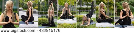 Composite Image Of Shots Of Slim Sportive Woman In Sportswear Doing Yoga Exercises On Stone At Publi