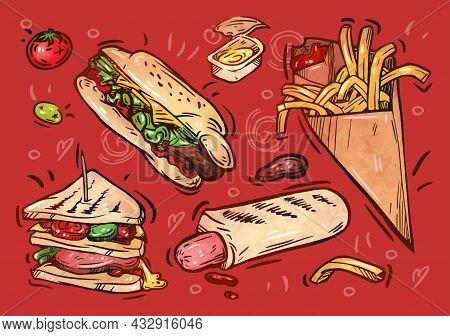 Fast Food Illustration. Hand Drawn Sketch. French Hot Dog, French Fries, Sandwich, Sauce. Street Foo