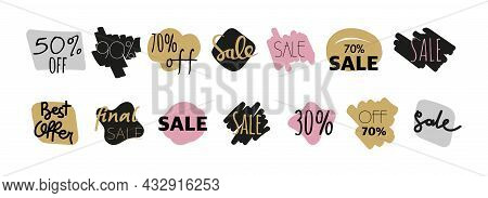 Fashion Stickers For Sale With Bubbles Draw By Hand A Large Set . Clouds Of Stickers With Different
