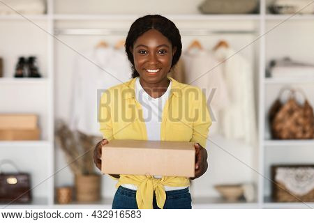 Happy African American Shopaholic Woman Holding Cardboard Box At Home