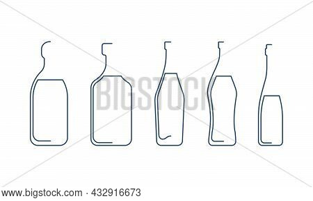 Bottle Continuous Line Tequila, Rum, Vermouth, Martini And Wine In Linear Style On White Background.