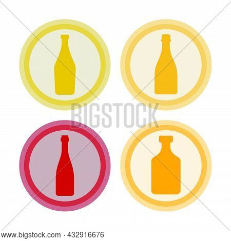 Bottle Of Vermouth, Champagne, Red Wine, Rum. Background Is Circle. Isolated Color Object Design Bev