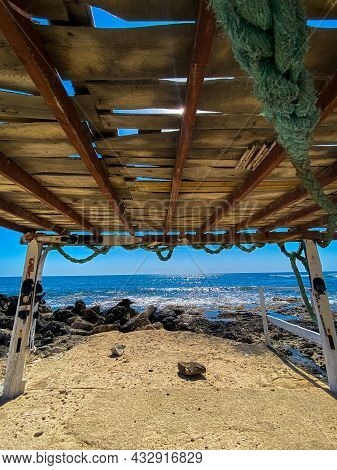 Sea Surf, Blue Waves Of Mediterranean Sea In The Cyprus. Rocky Stoned Beach. Summer Day. Sunny Parad